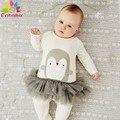 Enbaba Рождественский подарок бутик детской одежды зима бренд детская одежда для девочек С Длинным рукавом Животных пингвины комбинезон экипировка enfants