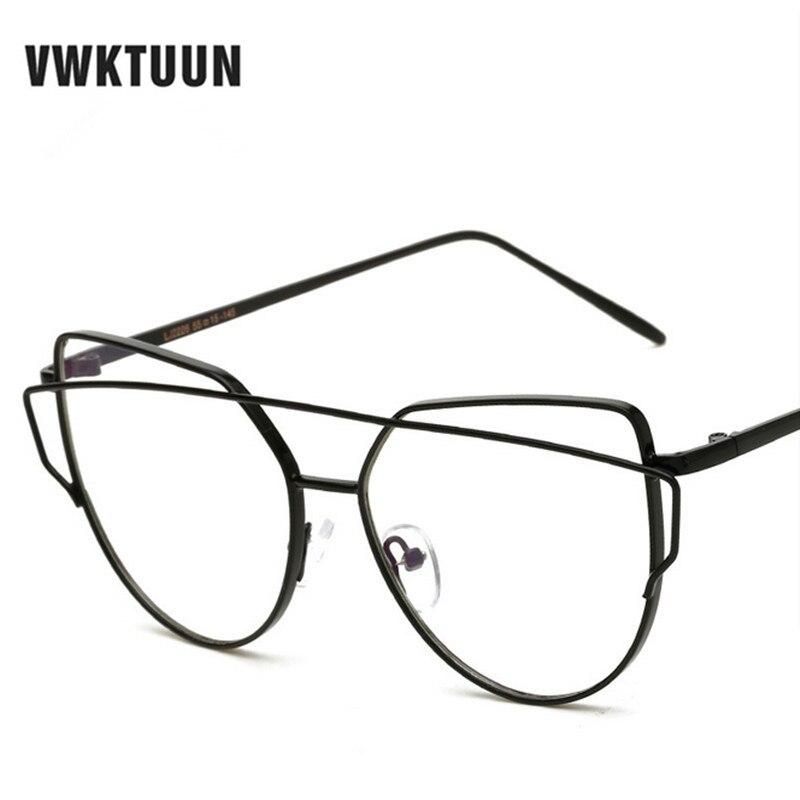 VWKTUUN Women Cat\'s Eye Glasses Brand Designer Frames Twin Beams ...