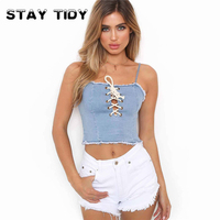STAY TIDY Sexy Blue Denim Cami Crop Top Women Cute Strap Sleeveless Club Winter Top 2017