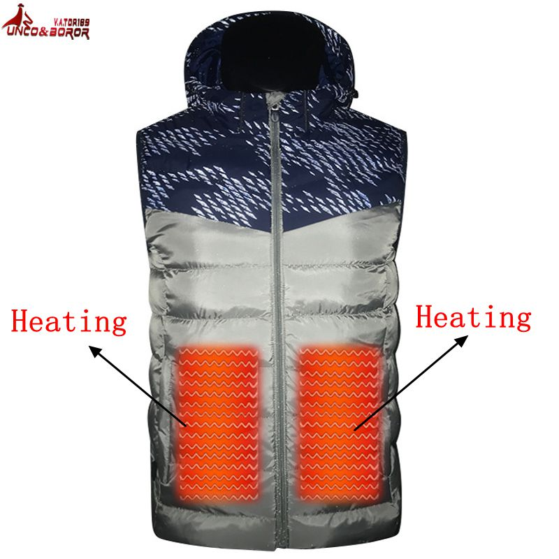 Men Winter Outwear USB Infrared Smart Heating Vest Jacket Electric Thermal warm Inside Coat Hiking Vest Heating Down Jacket electric heating heated down vest for skiing hiking camping winter men vest keep body warm for women and men with batteries