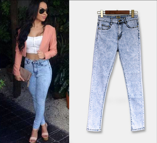 New high waisted full length pencil pants washed denim  jeans trousers women plus size feminino