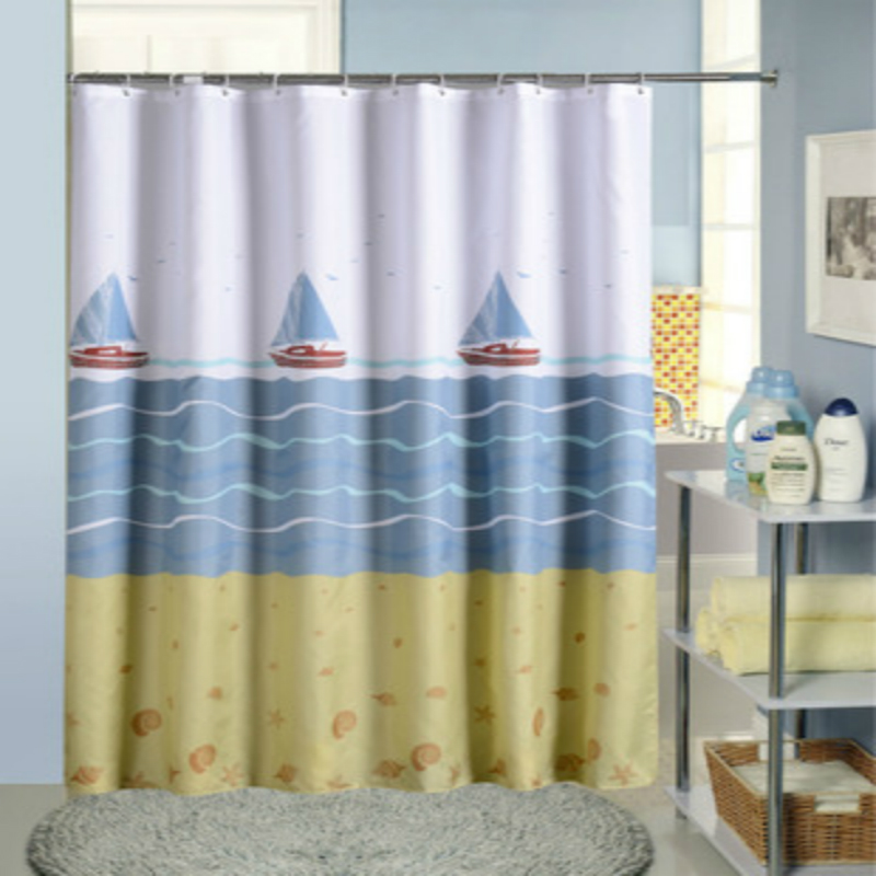 Polyester Printing Shower Curtain Waterproof Bathroom Curtain with Hooks Home Decor Bathroom Accessory Sailboat 1PC