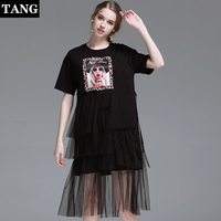 Платье для женщин Лето 2019 г. Новая мода Личность печати сетки шить темперамент элегантный черный, розовый футболка