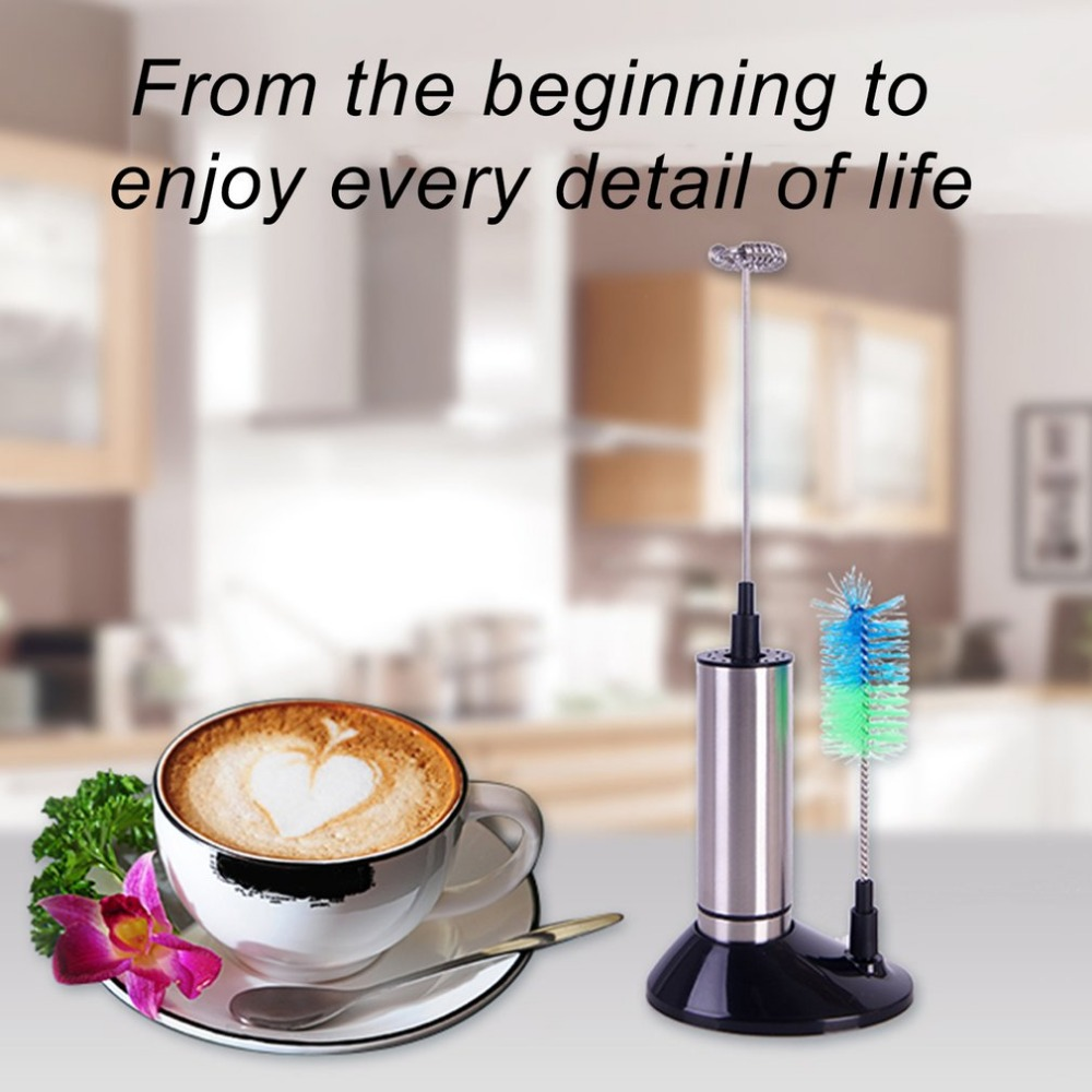Electric Milk Frother Stainless Steel Egg Beater Frothing Coil Cappuccino Tea Coffee Foaming Maker With Brush Head