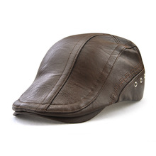 2018 Autumn And Winter visors european fashion perforation faux leather peaked cap embroidery personality peaked cap 12982