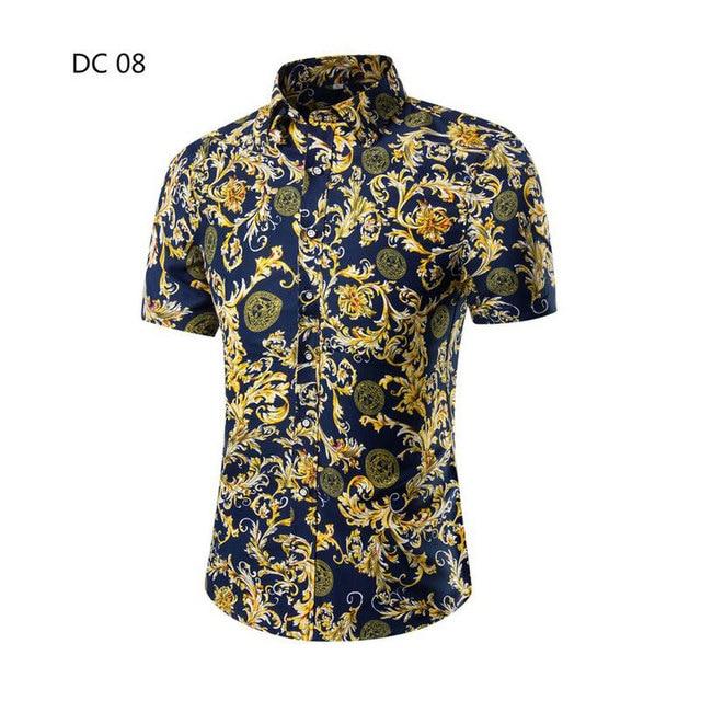 New Arrival Floral Men Shirt Cotton Short Sleeve Shirts Men Casual Print Camisa Masculina Fashion Slim Fit Male Shirt Dress