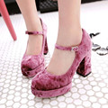 2017 Europe style waterproof platform high heels women pumps velvet Mary Jane Women Shoes Wedding shoes Tacones Mujer obuv
