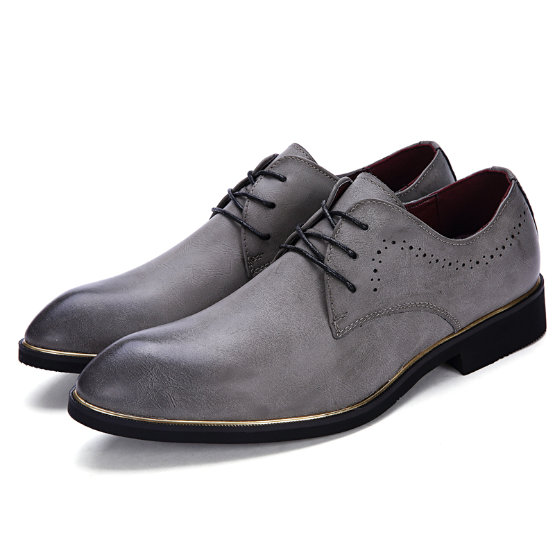 DJSUNNYMIX Brand mens dress for wedding shoes black brown lace-up formal business office male shoes