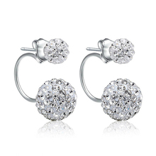 new Fashion 925 Sterling-silver-jewelry Earrings Refined and elegant Double Ball Shine Earings Pendientes Mujer Piercing Aretes