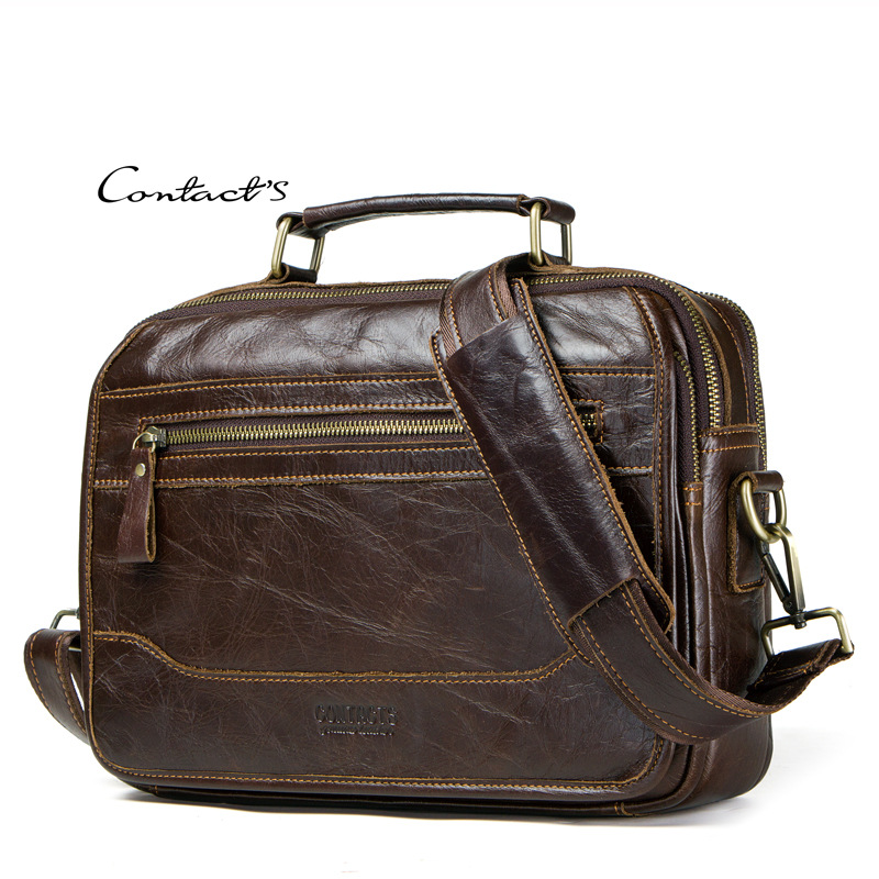 Male Briefcases Cow Leather Shoulder Crossbody Messenger Bag Oil Wax Satchels Laptop IPad Man Handbags Business Travel Gifts