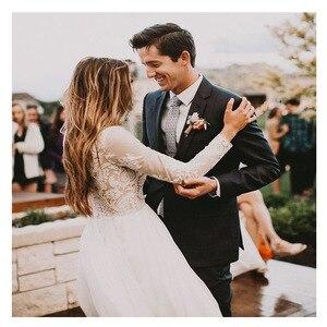 Image 2 - LORIE Boho Long Sleeve Wedding Dress 2019 Robe de mariee Vintage Lace Top New Bridal Dress Puffy Chiffon Wedding Dresses