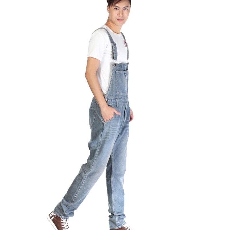 156b9e653a Moda coreana diseñador talla grande hombres Denim babero overoles azul  claro S 5XL holgado lavado Vintage Jean Jumpsuit para hombre en Pantalones  vaqueros ...