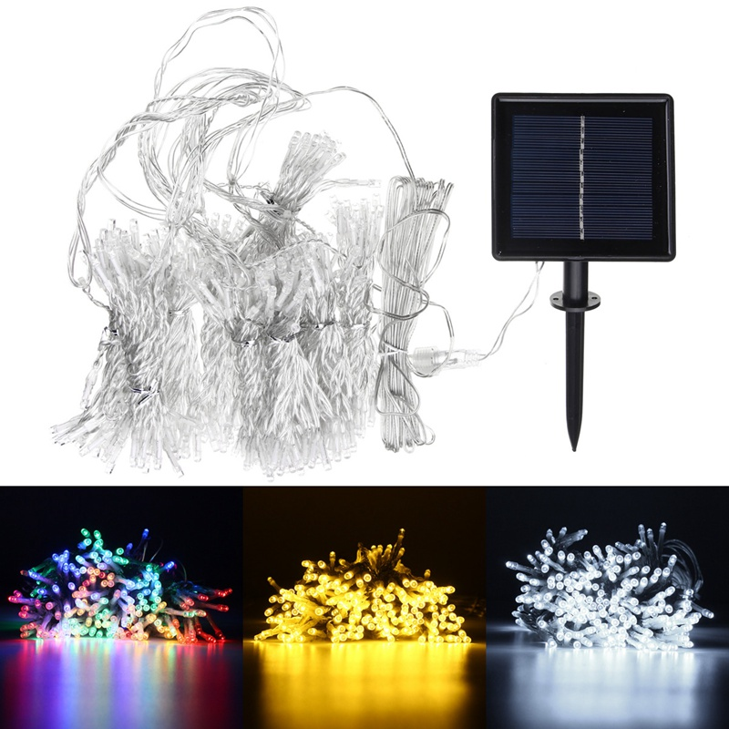 Solar Powered 300 LED String Light LED Fairy String Curtain Light Lamp Outdoor Garden Christmas Party Decor solar powered 0 64w 10lm 200 led blue light garden christmas party string fairy light blue 20 5m