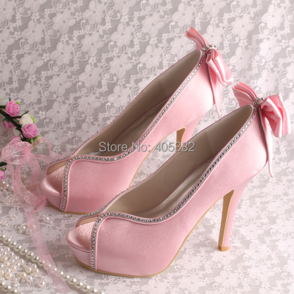 (20 Colors)Custom Handmade Bride Wedding Shoes Pink Women Autumn Spring Platforms Bowtie Decoration