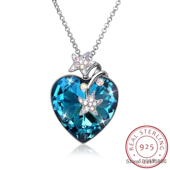 SMTCAT Crystals From Luxury Heart Pendant Necklace 925 Silver Long Chain Maxi Colares For Women Lovers Christmas Gifts