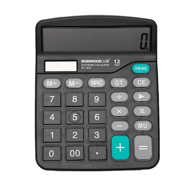 Sunwoo Ec 1837 Financial Accounting Calculator Large Screen Solar Dual Desktop For Student Office School Home