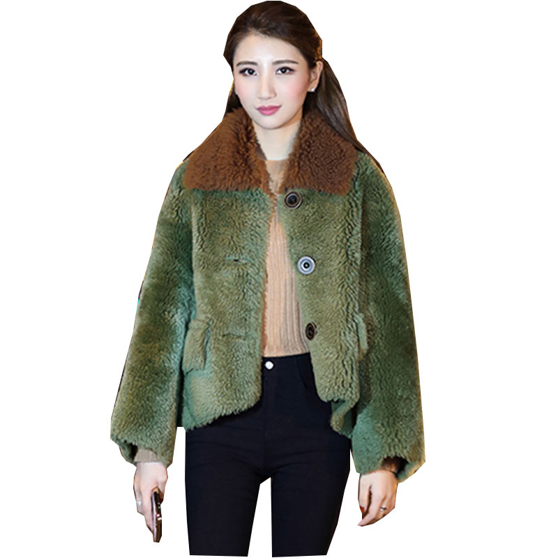 manteau femme hiver Fur collar Winter Lambswool Coat Women 2017 New Large size Thicker Plush Female Wool Jacket Fashion Casaco adibo winter jacket women winter coat manteau femme womens winter jackets and coats plus size with large collar casaco 098