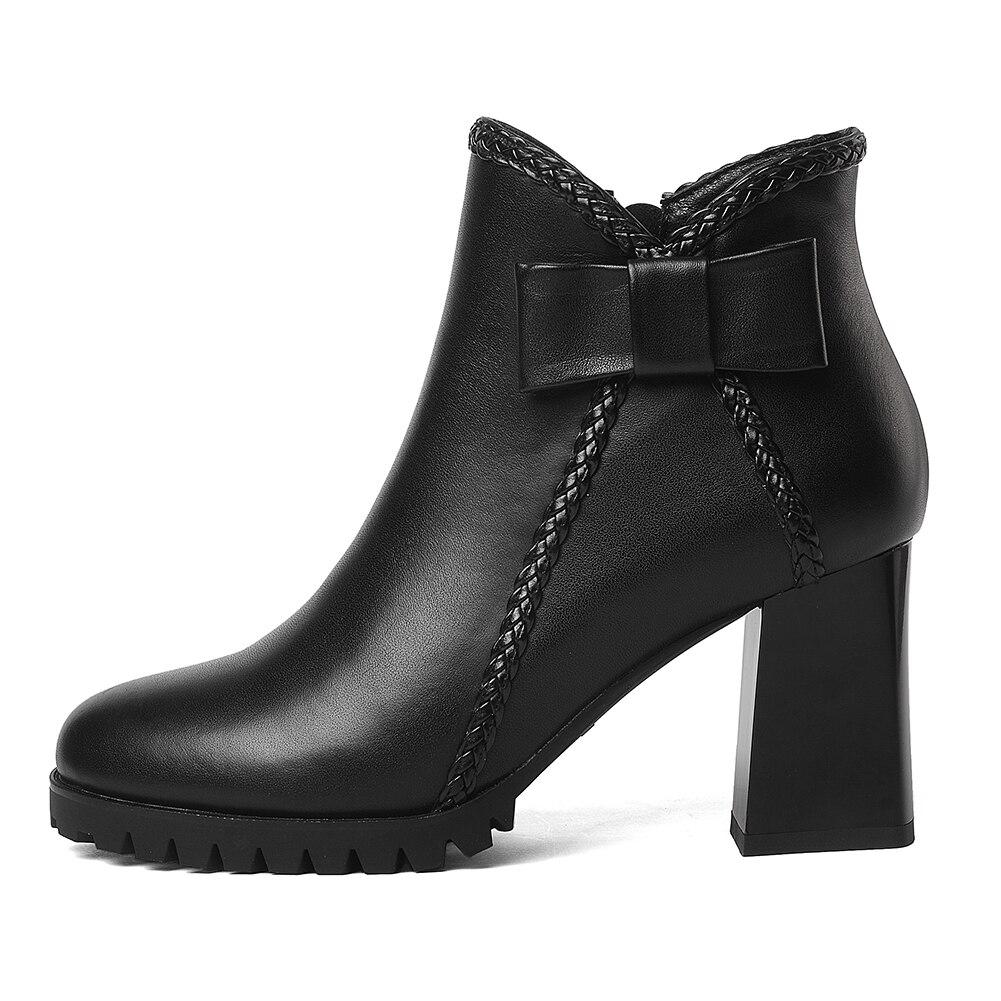 Elegante Tacón Cuero Marca Negro Mujer Diseño Plataforma Genuino Zapatos Arco De Doratasia Botas Vaca Alto wYPIqRaA