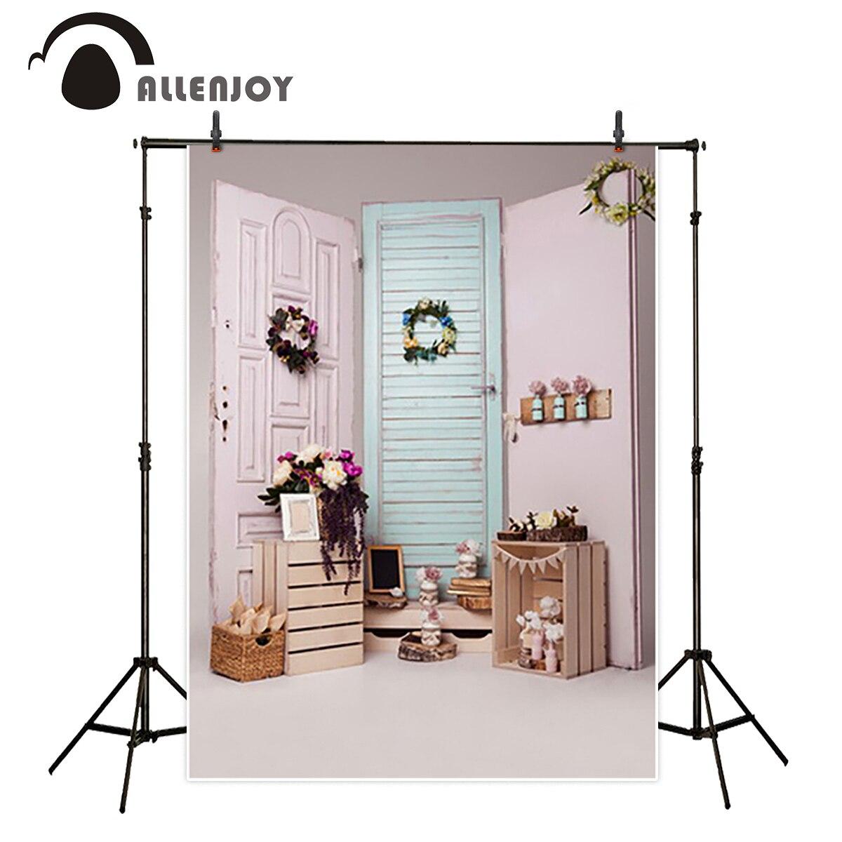Allenjoy vinyl backdrops for photography backdrop Pink door Garland Girl personally customize children Background for Studio