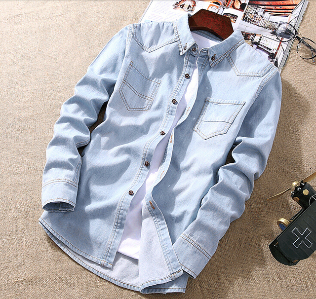 New Fashion Spring Classic Men jean Shirt Long Sleeve Turn-down Collar Regular-Fit Mens Shirts Designer Clothes