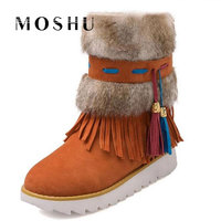 Winter Women Snow Boots Waterproof Female Plush Insole Beaded Suede Nubuck Ladies Winter Shoes Chaussure Femme