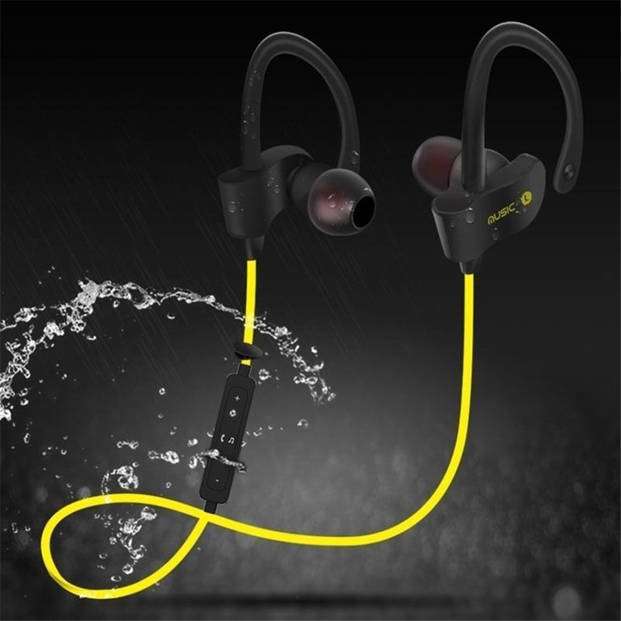 Waterproof Bluetooth Wireless Ear-Hook Headset Handsfree Stereo Sport Earphone With Microphone For IPhone 6 6S 7 Samsung galaxy universal wireless bluetooth 4 0 edr headset headphone with noise cancellation handsfree stereo a2dp earphone for iphone samsung