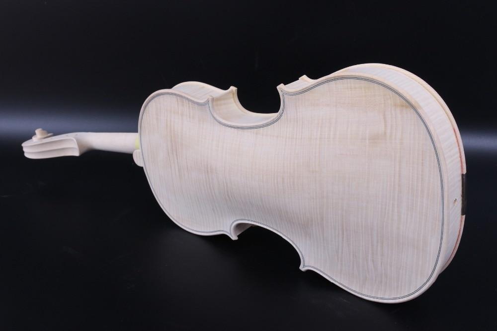 Violino inacabado 4/4 Full Size violino Branco de Uma peça chama bordo Spruce madeira Feitos À Mão Violino Kit #3139