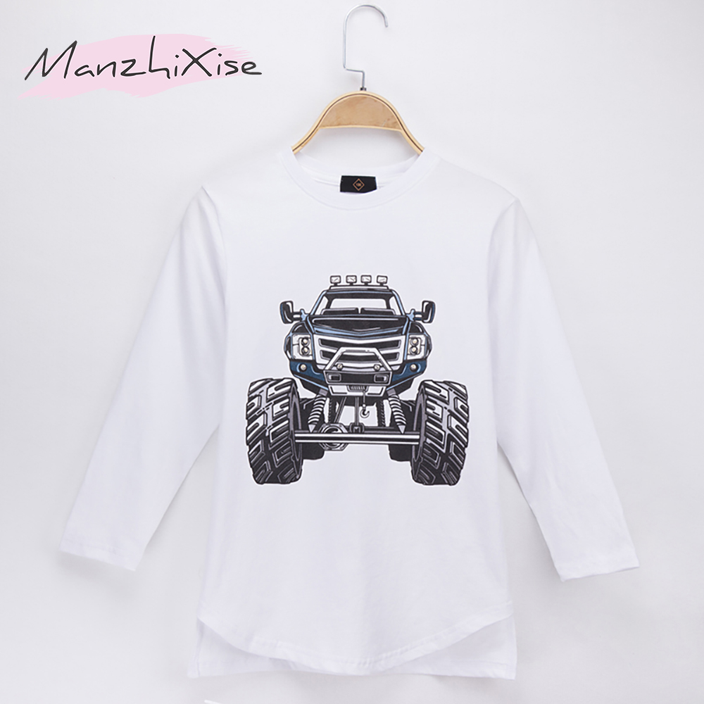 2018 Hot Sale Children Clothes Kids T-shirts Monster Truck 100% Cotton Full Long Sleeve  ...