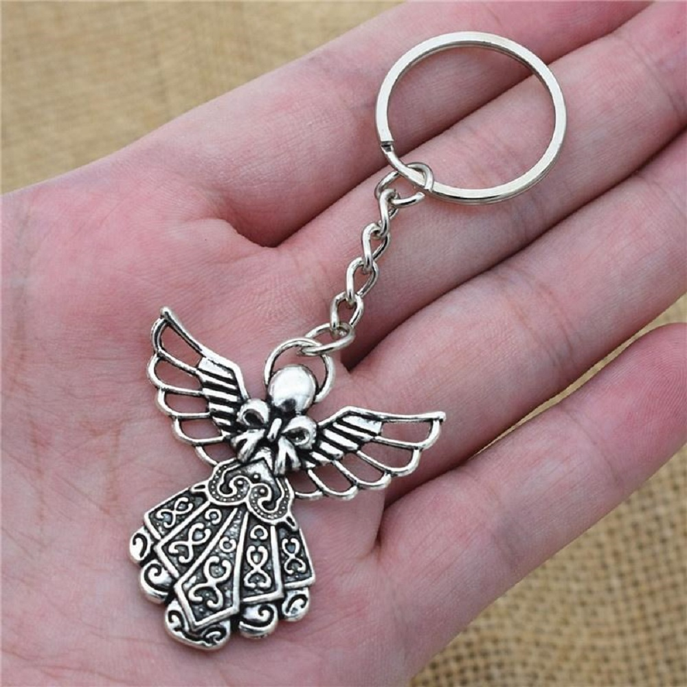 Antique Silver Plated Big Guardian Angel Pendant Key Chain Jewelry Key Rings New браслет с брелоками silver angel 10 diy m2398 new