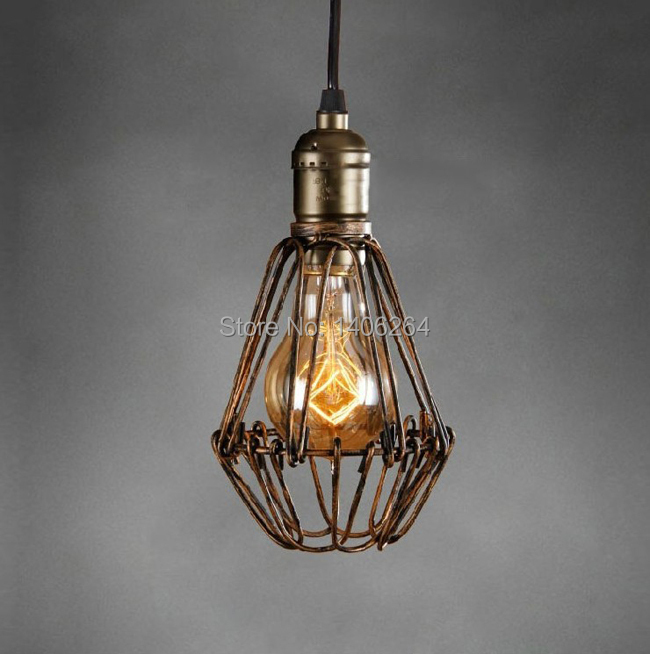 LOFT Vintage Industrial Retro Edison Iron Tiny Cages Droplight Cafe Bar Coffee Shop Store Hall Club Bedroom Bedside beylamps projector lamp with housing lv lp32 for canon lv 7380 lv 7280 lv 7285 projectors