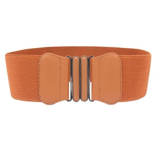 Потрясающая мода леди бантом тянущийся эластичный широкий пояс эластичный пояс для украшения платья - Цвет: Оранжевый