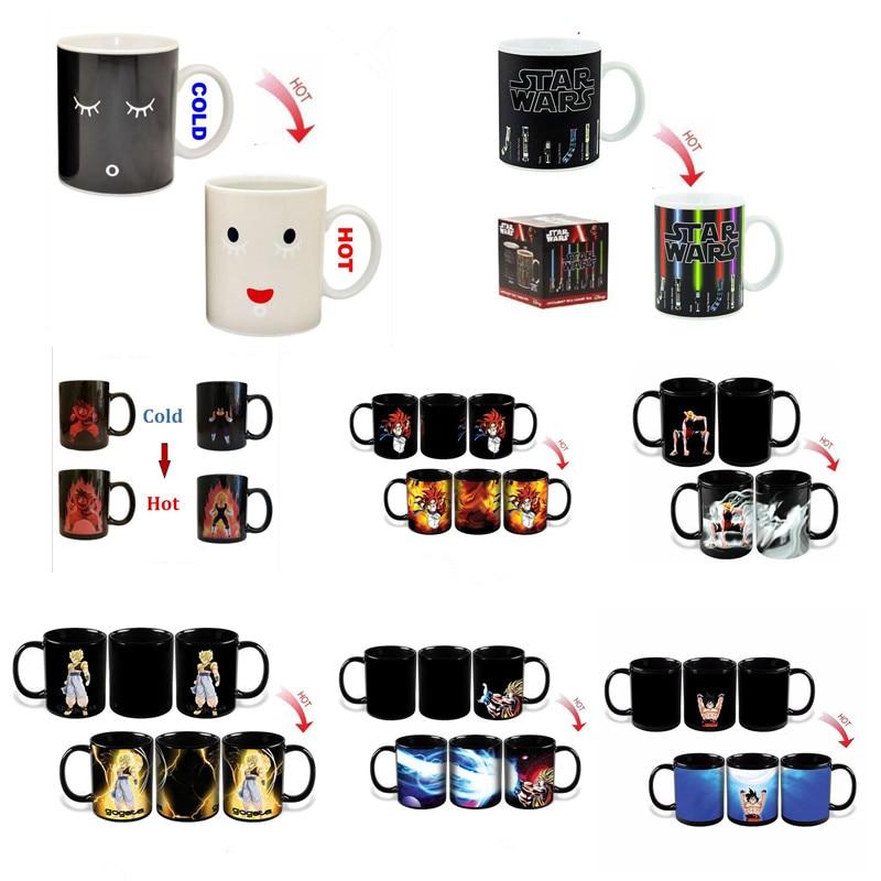 Promotion! Changing Color Mugs Heat Reactive Ceramic Super Saiyan Coffee Mugs Taza Goku Morning Mug for friend Gift