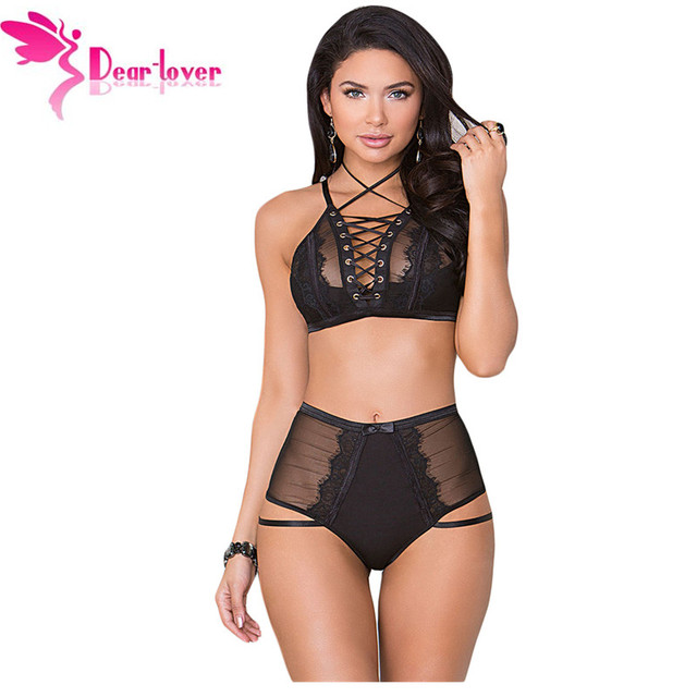 ea30454245 Dear Lover Sexy Women Lingeries Lace-up Strappy Adjustable Straps Bra  Bralette Set Intimate Underwear