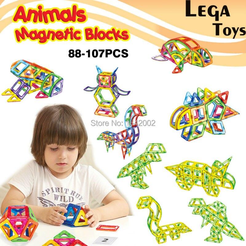 Blocs de Construction magnétiques animaux concepteur Construction jouet aimant carreaux de Construction briques Kit jouets éducatifs pour enfants