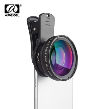 APEXEL 2 in 1 Phone Camera Lens kit 0.45x  Wide Angle & 12.5x  Macro Lens HD Camera Lentes for ios android smartphones
