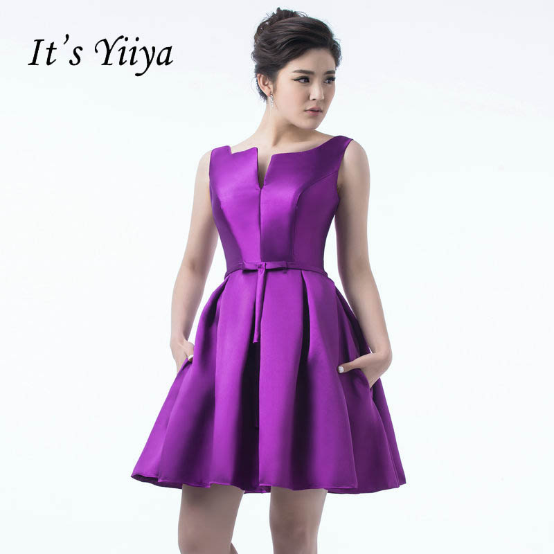 It's YiiYa 2018 Many Color Backless Bow Traffeta Lace Up Dinner Dress Cocktail Dresses Knee Length Formal Dress Party Gown LX084