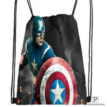 Custom Captain-America- Drawstring Backpack Bag Cute Daypack Kids Satchel (Black Back) 31x40cm#180612-02-29