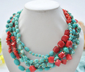 FREE SHIPPING>>@> A716 5row red coral & blue turquoise bead necklace