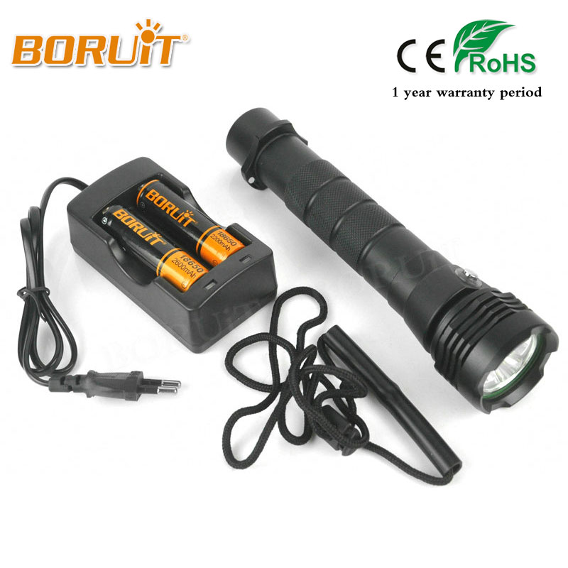BORUIT Brand Diving 80M 3800LM L2 LED Flashlight Waterproof Lantern Handheld Torch 18650 Battery Portable white