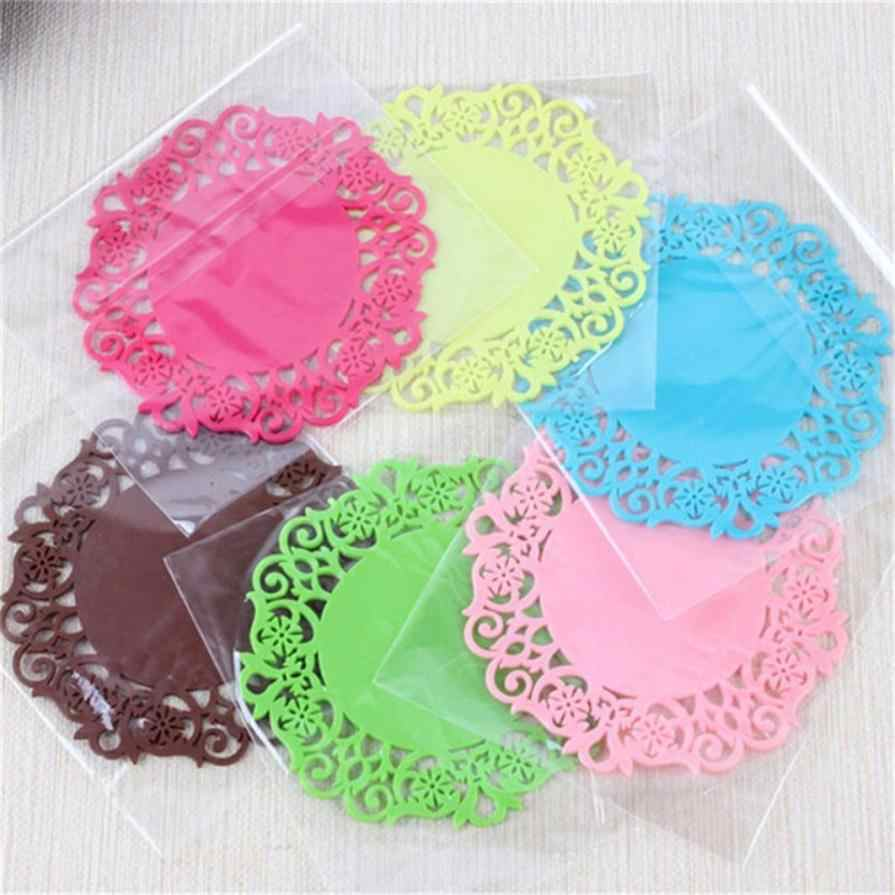 2PC Lace Flower Doilies Silicone Coaster Tea Cup Mats Pad Insulation Placemat