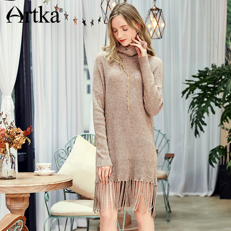 ARTKA 2018 Autumn Winter Women Solid Knitted Sweater Turtleneck Full Sleeve Asymmetrical Teasels Hem Vintage Pullovers
