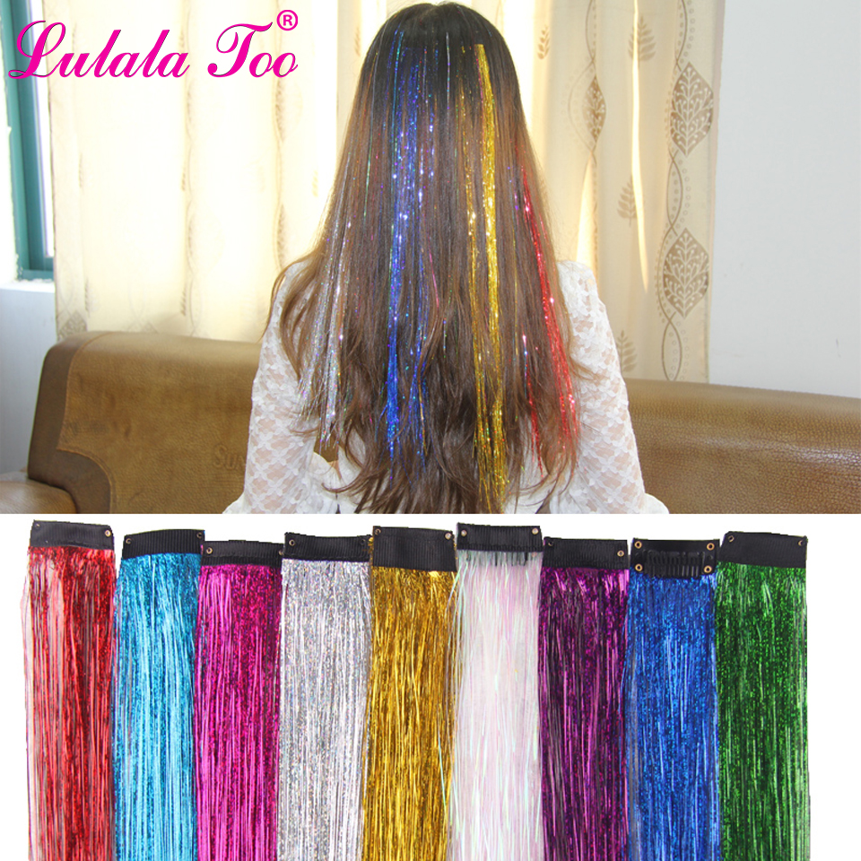 Clip in One Piece Colorful Sparkle Hair Tinsel Bling Hair Secoration Shiny Hair Tinsel Straight Synthetic Hair Extension