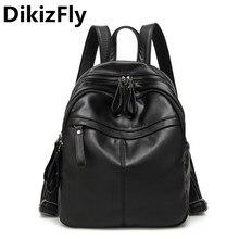 Dikizfly женщины рюкзак мешок Bolsa дорожная сумка Высокое качество школьные сумки Mochila Feminina Опрятный Стиль искусственная кожа черный рюкзаки