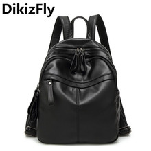 DikizFly Women Backpack Bag Bolsa travel bag high quality school bags mochila feminina Preppy style PU Leather Black Backpacks