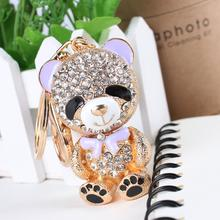 Lovely Little Bear Butterfly Bowknot Crystal Rhinestone Charm Pendant Purse Bag Car Key Ring Chain Creative Wedding Party Gift