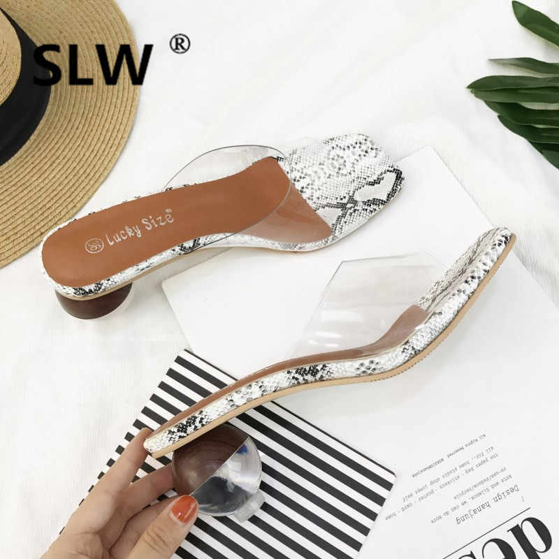 summer new transparent med heel peep toe sandals woman korean style platform slippers snake pattern flip flops woman 2019