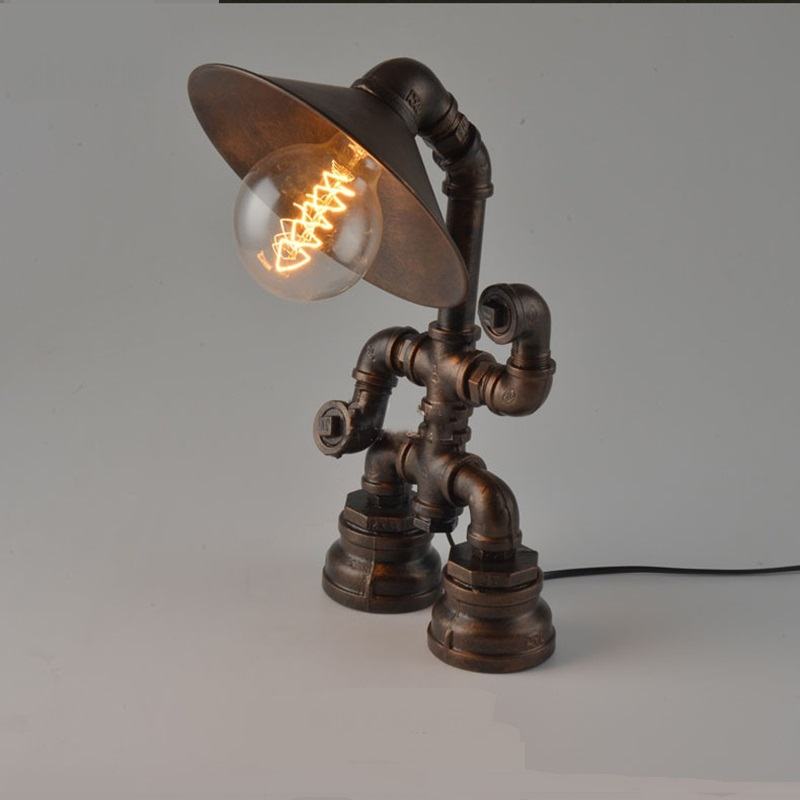 Loft industrial Table Lamps nine coffee shop retro water pipes American creative personality iron robot lamps