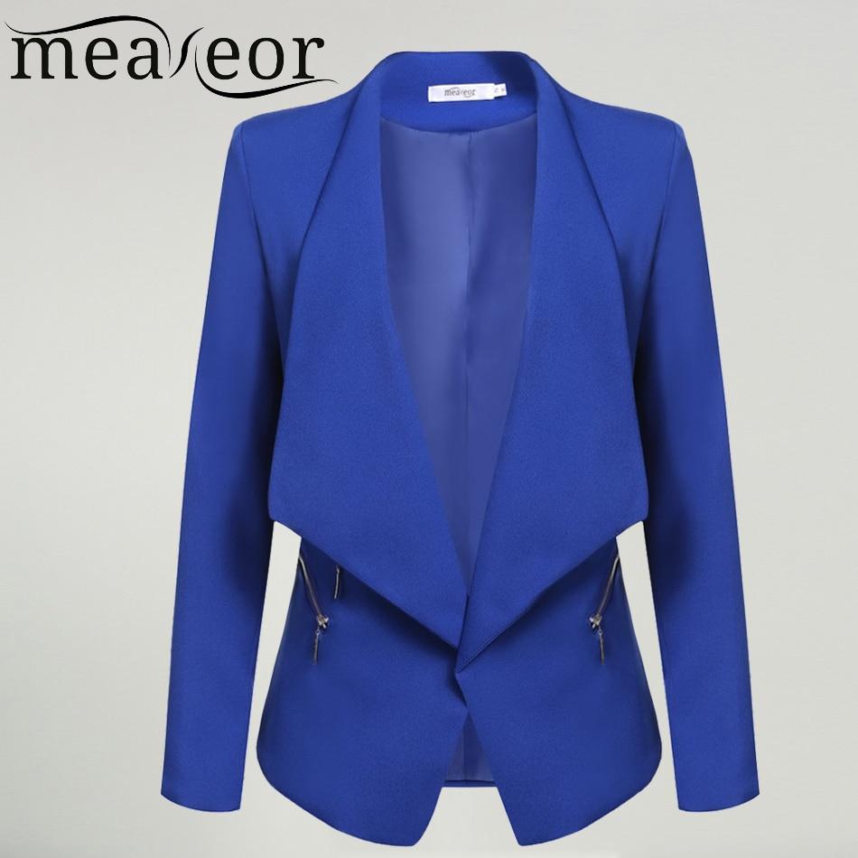 Meaneor Women Jacket Office Slim Blazers Jackets Lady Elegant Casual Autumn Long Sleeve Padded Shoulder Asymmetrical Blazer Coat