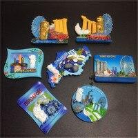7pcs/set Singapore 3D Resin Fridge Magnets Tourism Souvenirs Refrigerator Magnetic Stickers Home Decoration