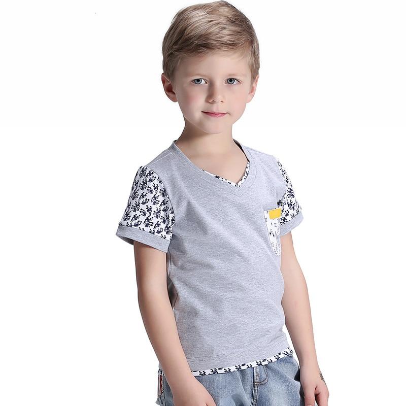 children's clothing new 2016 boys short sleeve print T-shirt cuhk summer cotton v-neck kids tops t-shirts 120-170cm